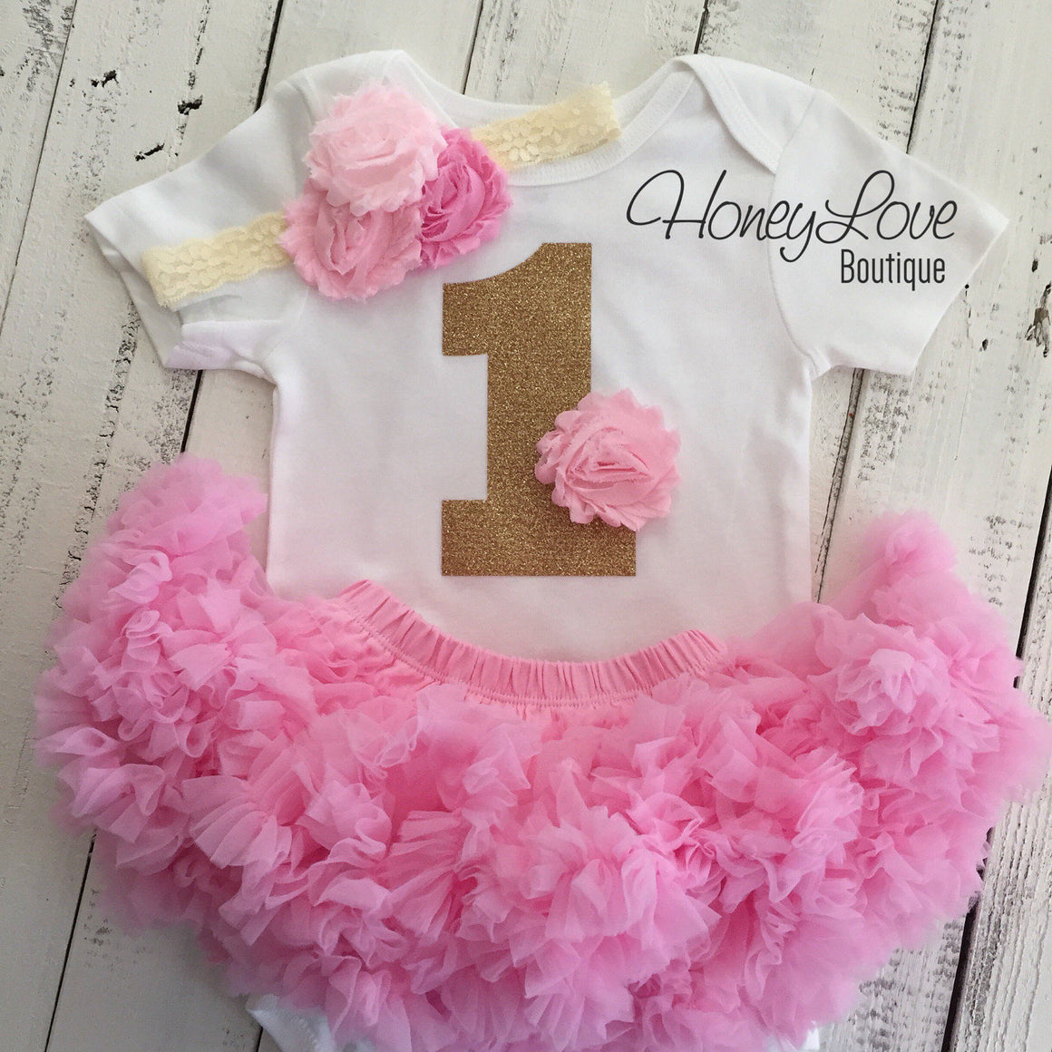 1st Birthday Outfit, light pink and gold glitter 1 number shirt, pettiskirt tutu skirt, lace shabby flower headband, First Cake Smash girl - HoneyLoveBoutique