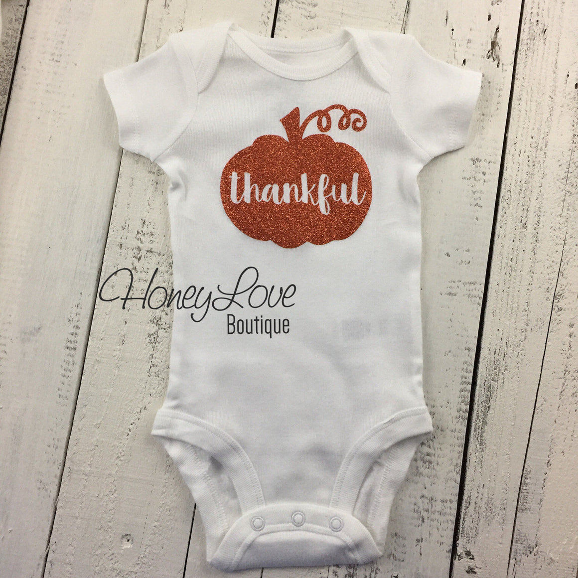 thankful Pumpkin - Orange glitter bodysuit - HoneyLoveBoutique