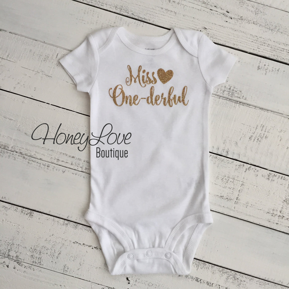 Miss One-derful - SILVER or GOLD glitter bodysuit - HoneyLoveBoutique