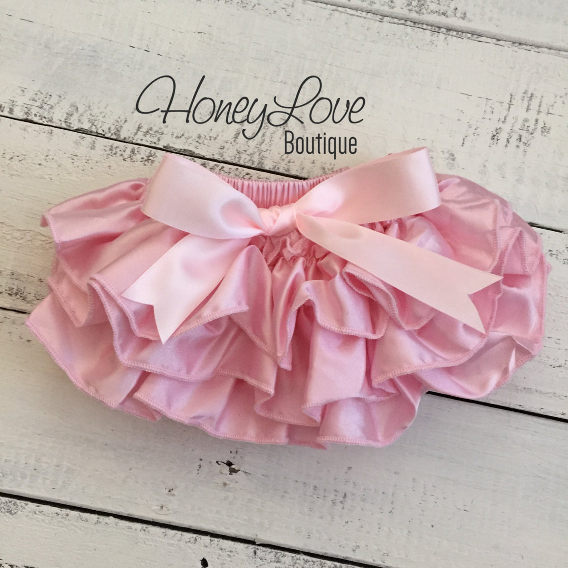 Light Pink Satin Ruffled bloomers - HoneyLoveBoutique