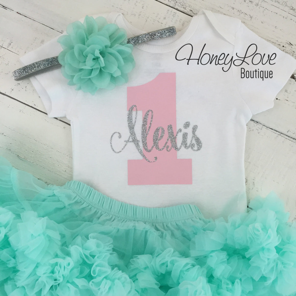 Personalized 1st Birthday Outfit - Silver/Gold glitter, Light Pink and Mint/Aqua - HoneyLoveBoutique
