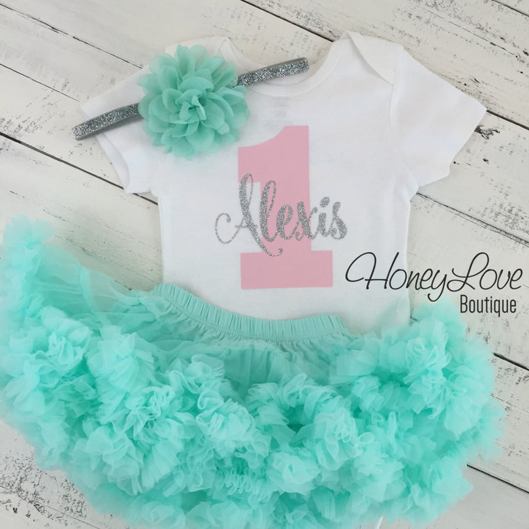 Personalized 1st Birthday Outfit - Silver/Gold glitter, Light Pink and Mint/Aqua