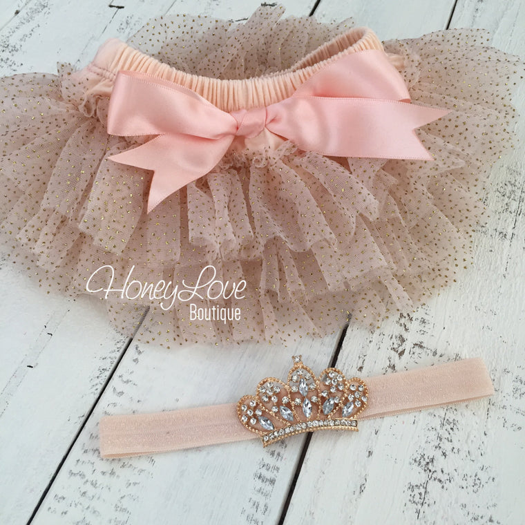 Peach and Gold glitter tutu skirt bloomers and tiara headband - HoneyLoveBoutique