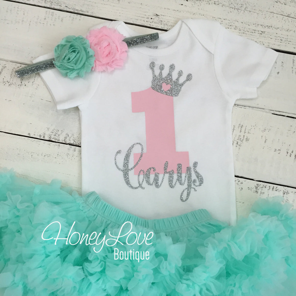 Personalized 1st Birthday Princess Outfit - Silver Glitter, Light Pink and Mint/Aqua - HoneyLoveBoutique