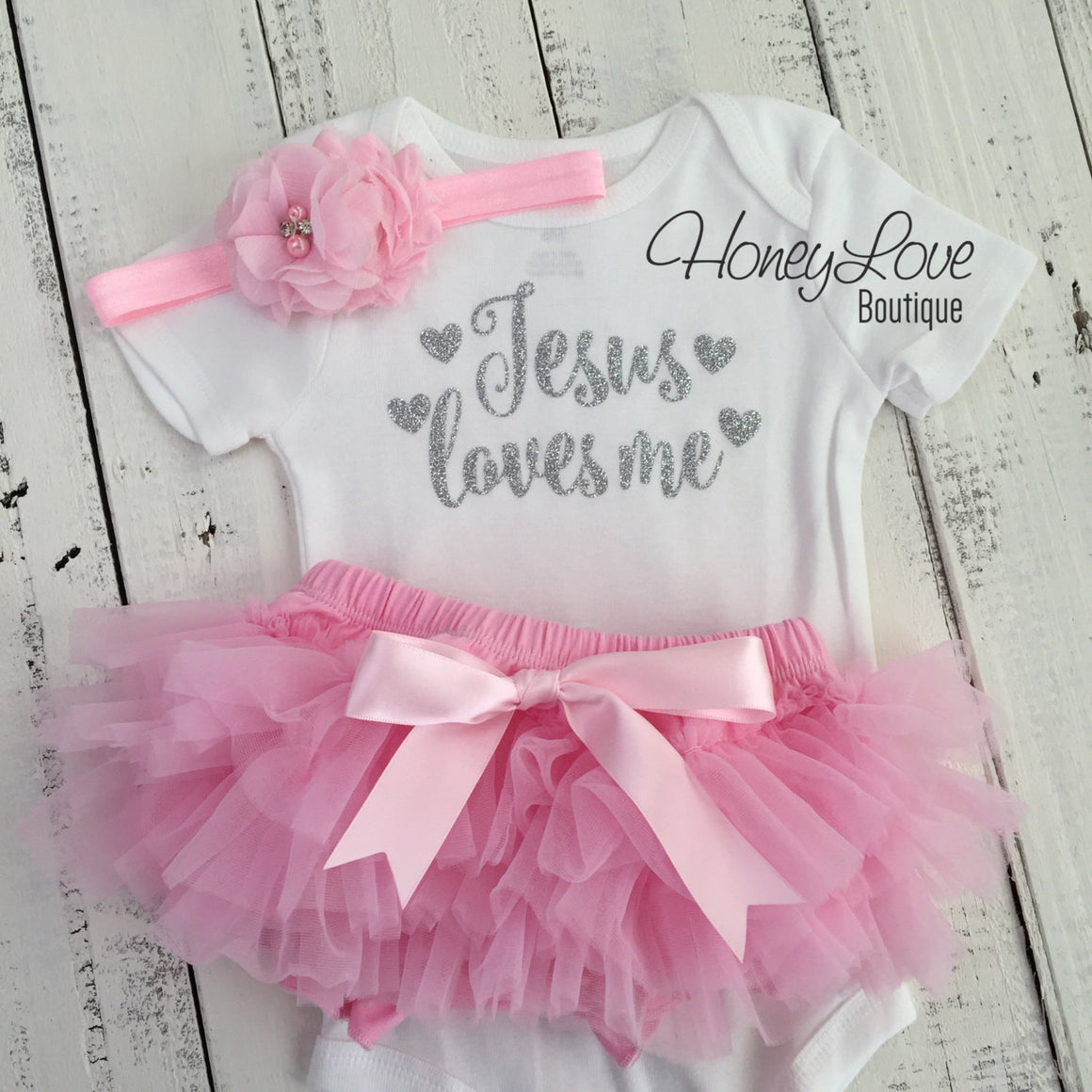Jesus loves me Outfit Set - Silver/Gold glitter and Light Pink - HoneyLoveBoutique