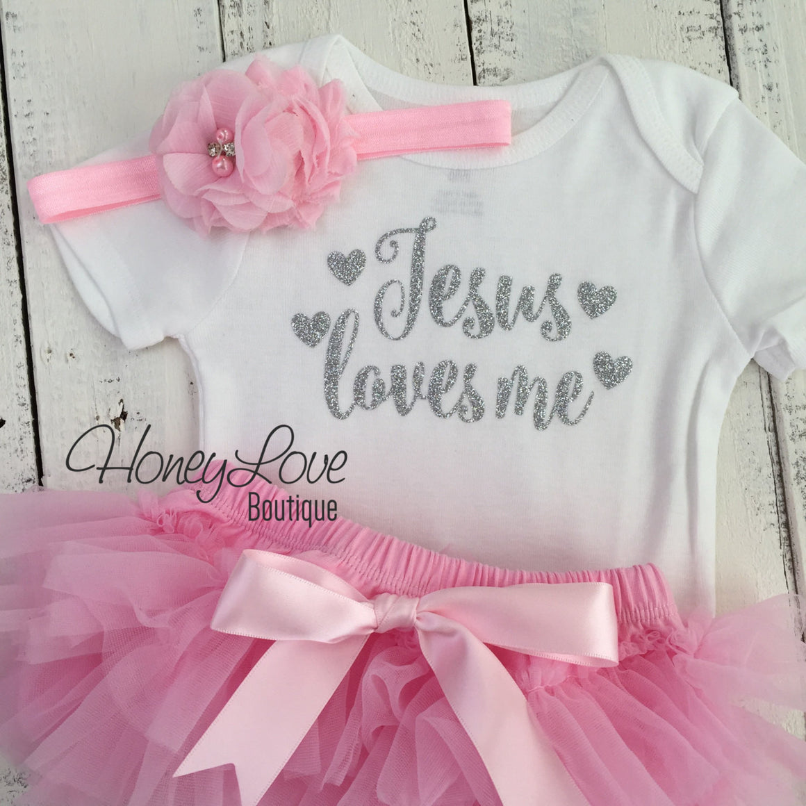 Jesus loves me Outfit Set - Silver/Gold glitter and Light Pink