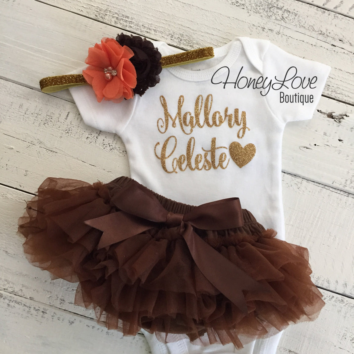 PERSONALIZED Name Outfit - Gold Glitter, Brown and Orange - HoneyLoveBoutique