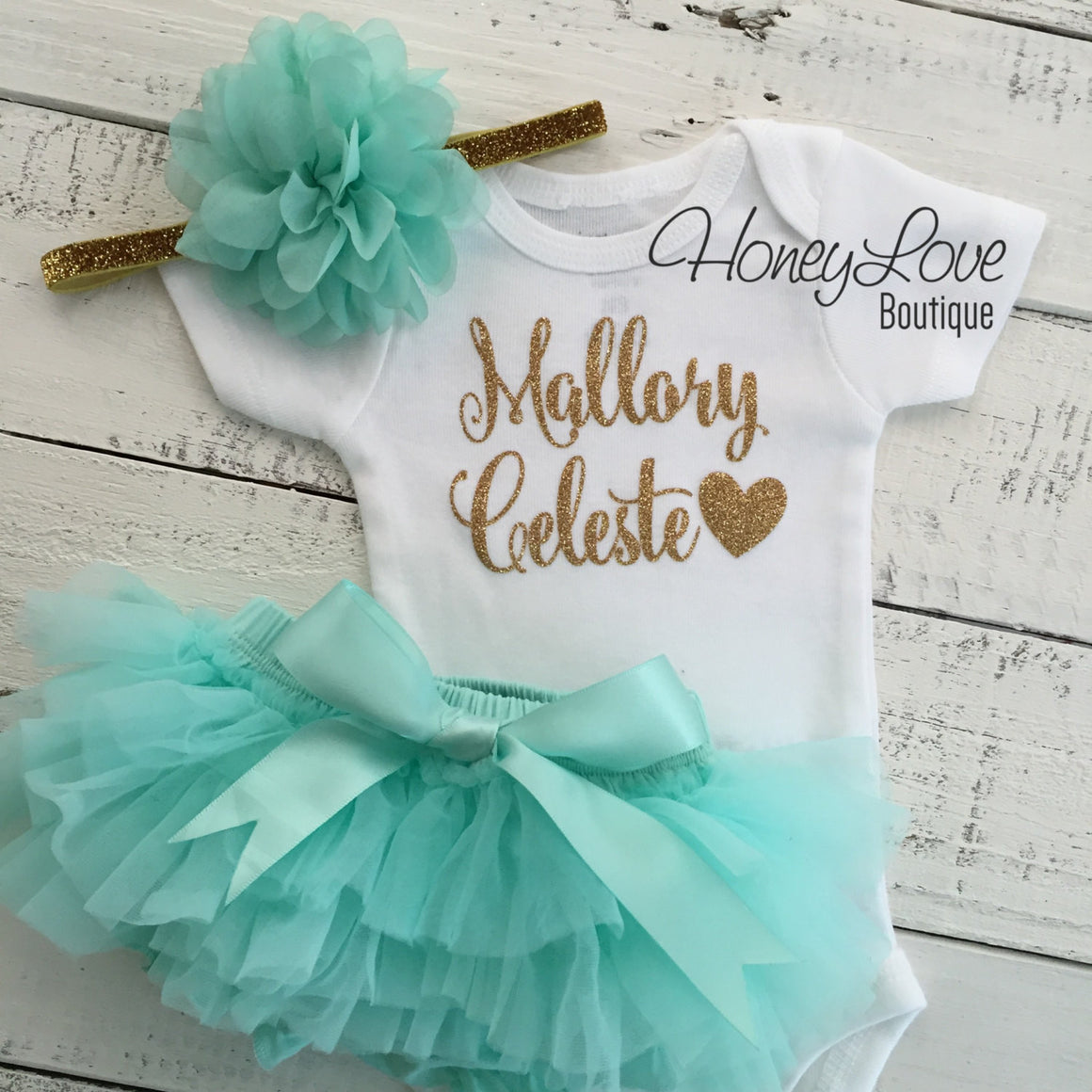 PERSONALIZED SET gold glitter shirt bodysuit, mint aqua tutu skirt bloomers, flower headband, newborn baby girl take home hospital outfit - HoneyLoveBoutique