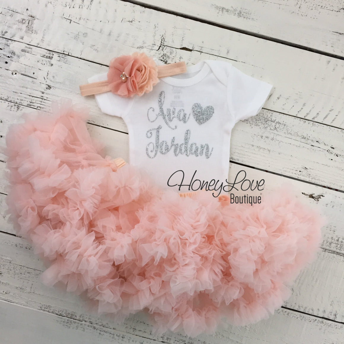 PERSONALIZED Name Outfit - Silver Glitter and Peach Pettiskirt - HoneyLoveBoutique
