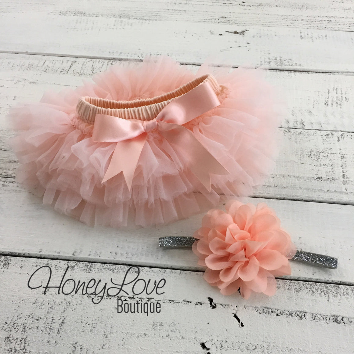 PERSONALIZED Name Outfit - Silver Glitter and Peach