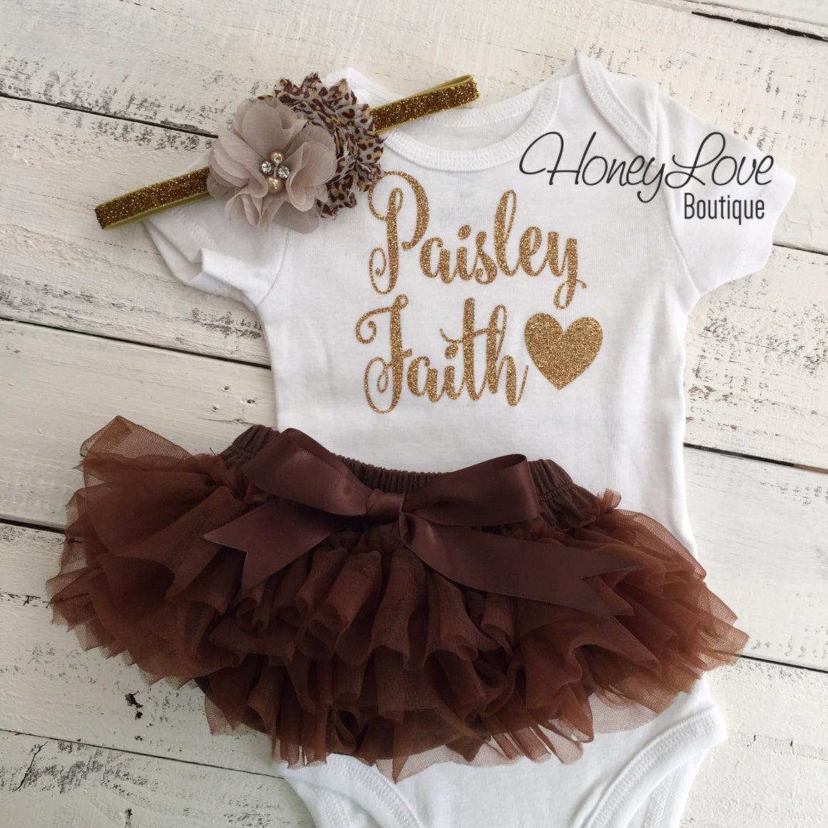 PERSONALIZED Name Outfit - Gold Glitter and Brown, Leopard Print - HoneyLoveBoutique