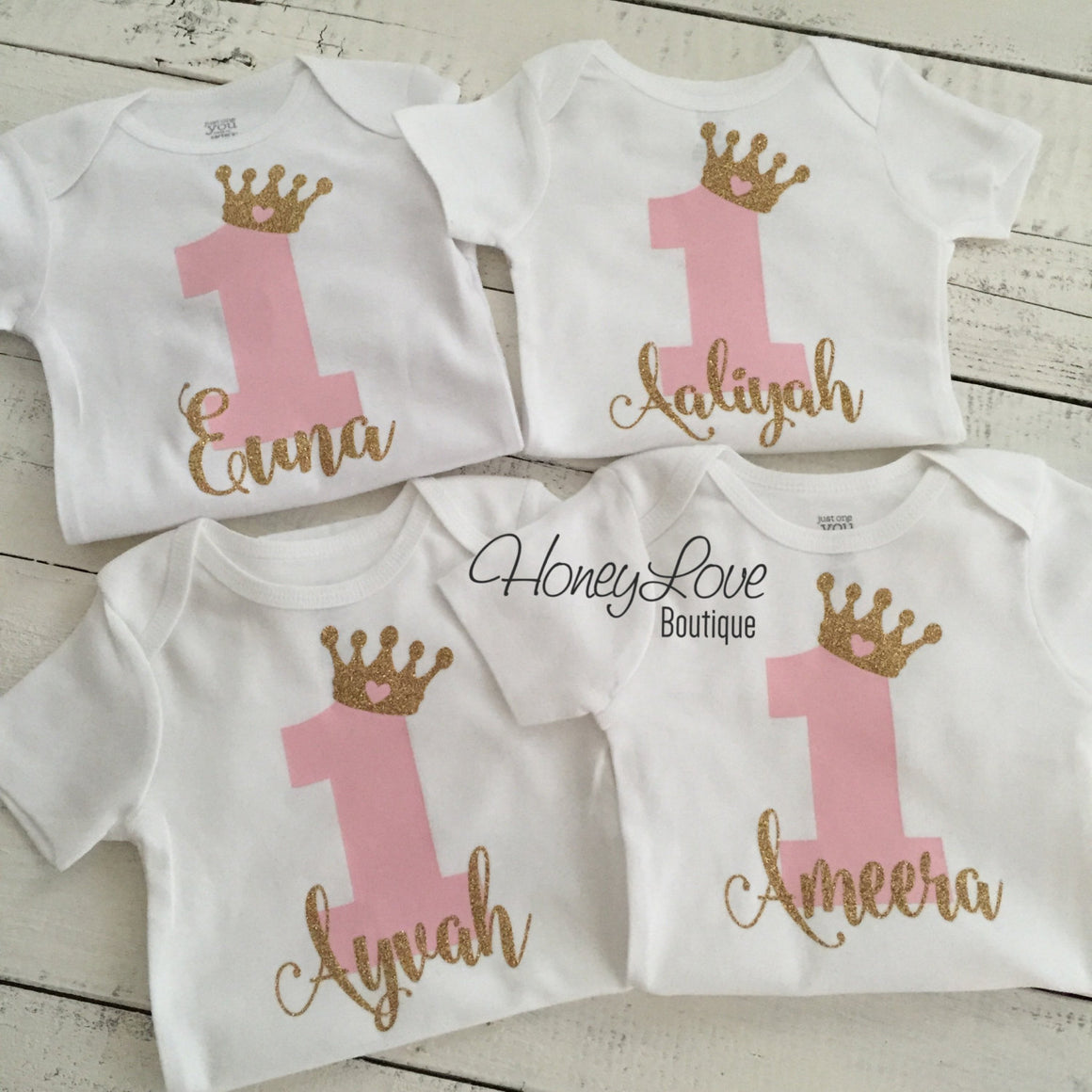 Personalized First Birthday Princess Bodysuit - Light Pink and Silver glitter - HoneyLoveBoutique