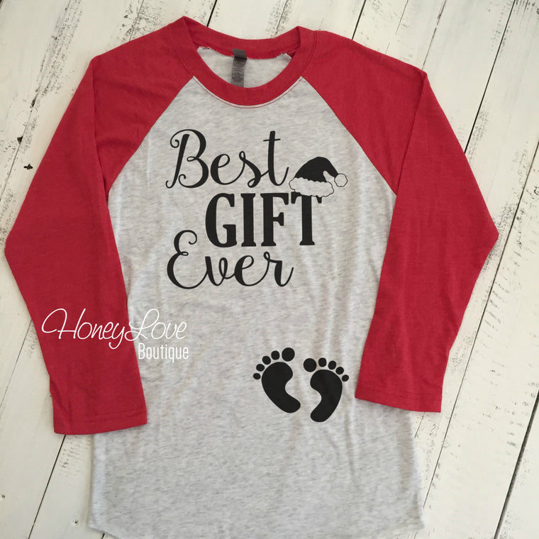 Best GIFT Ever Santa hat Pregnancy Announcement, maternity preggo preggers pregnant shirt expecting baby bump feet baseball raglan style tee - HoneyLoveBoutique