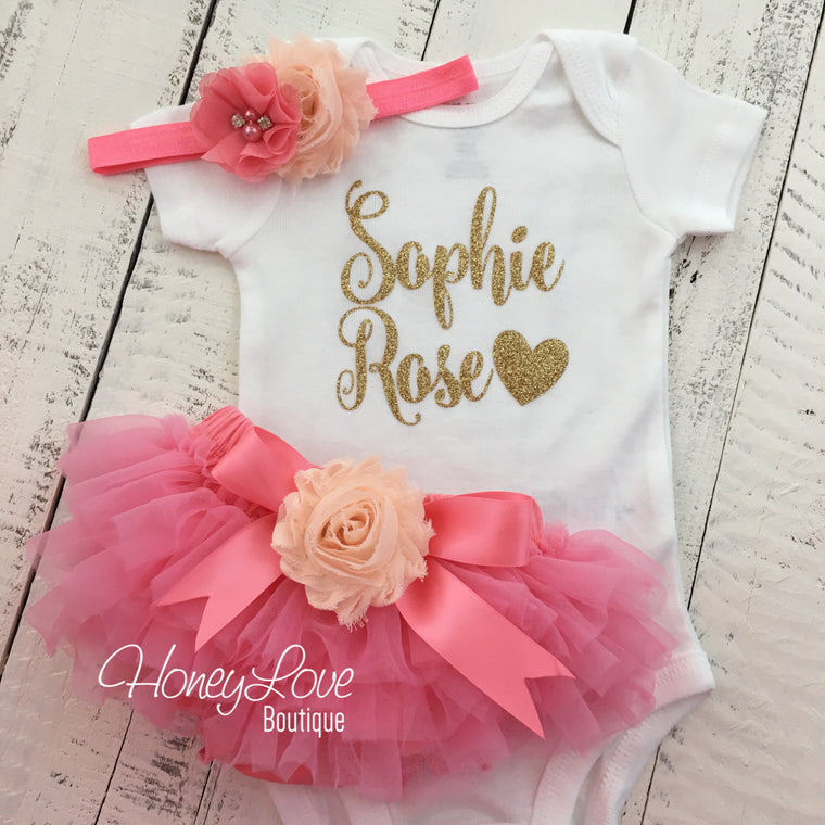 PERSONALIZED Name Outfit - Coral Pink and Gold Glitter - Peach flower embellished tutu skirt bloomers - HoneyLoveBoutique