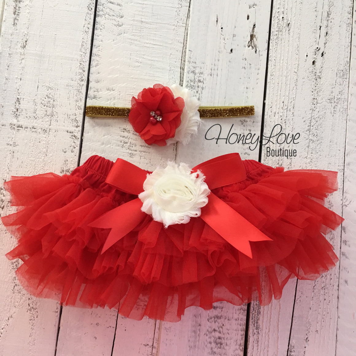 Red/Ivory Embellished tutu skirt bloomers and Gold/Silver glitter headband - HoneyLoveBoutique