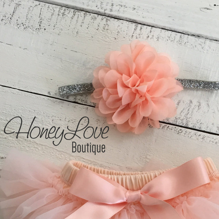 Peach fluffy flower headband - SILVER/GOLD glitter elastic - HoneyLoveBoutique