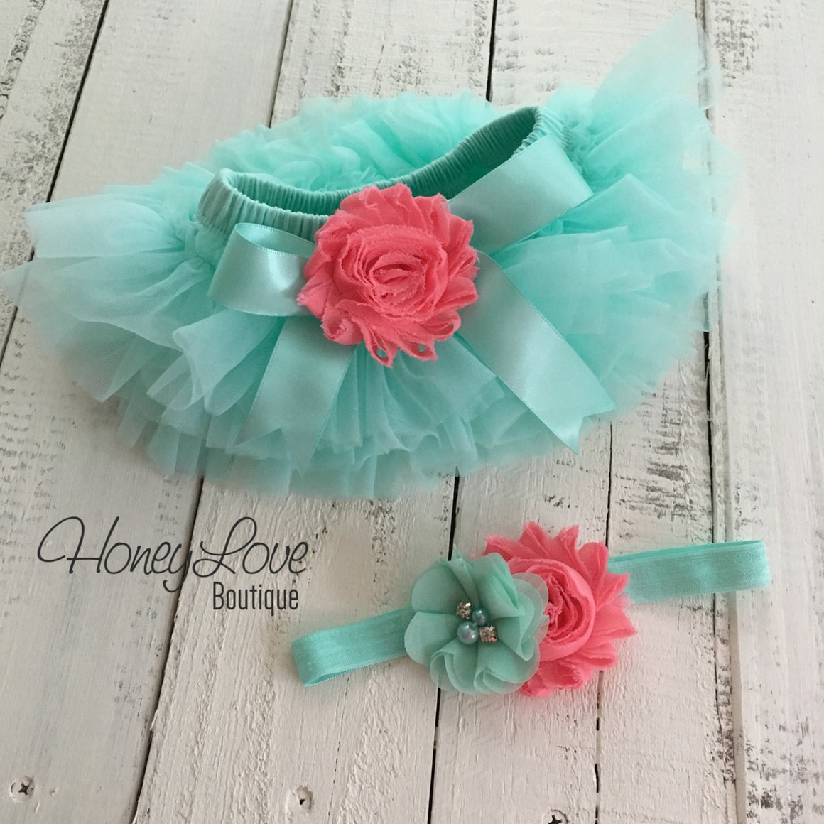 PERSONALIZED Name Outfit - Mint/Aqua and Gold Glitter - Coral flower embellished tutu skirt bloomers - HoneyLoveBoutique