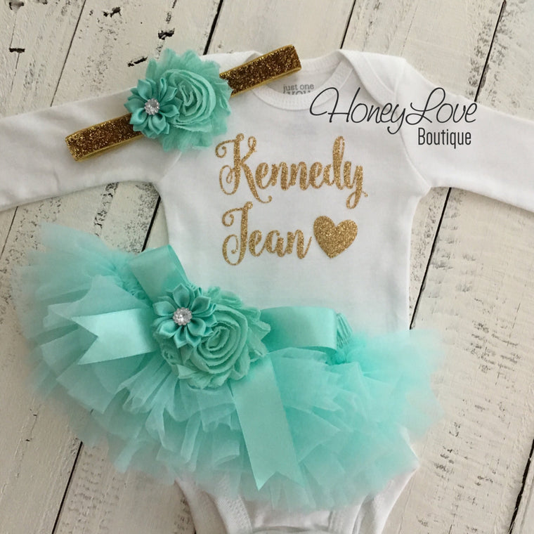 PERSONALIZED Name Outfit - Gold Glitter and Mint/Aqua - Embellished bloomers