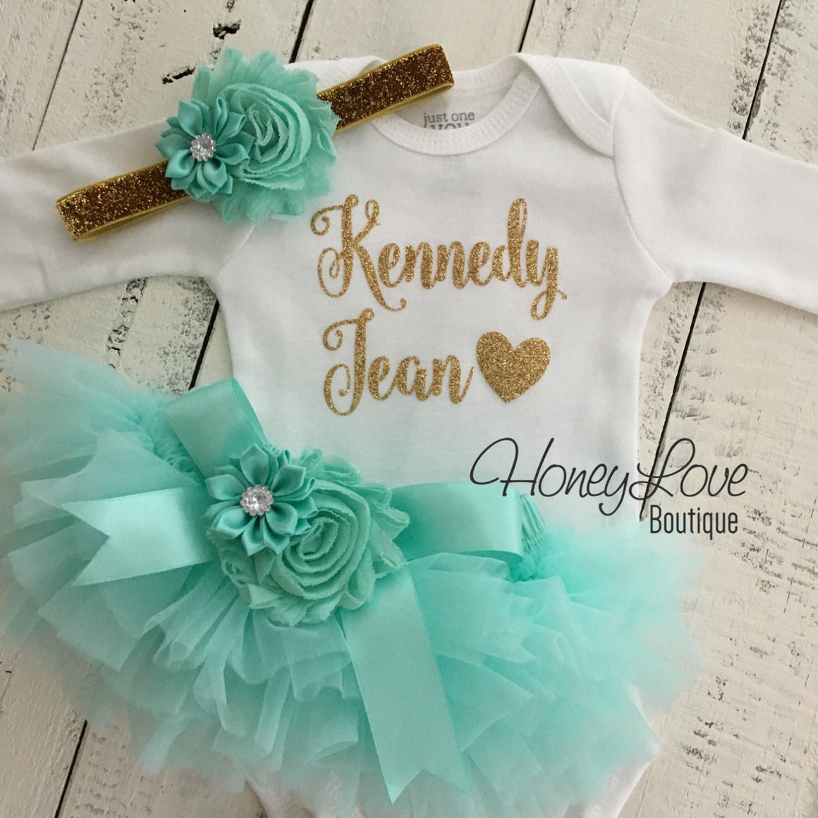 PERSONALIZED Name Outfit - Gold Glitter and Mint/Aqua - Embellished bloomers - HoneyLoveBoutique