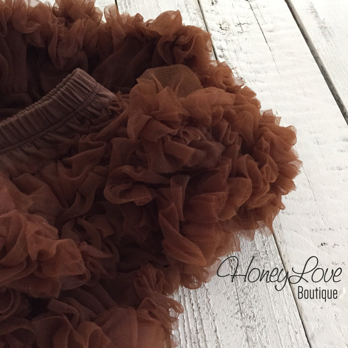 Brown Pettiskirt - embellished champagne flower - HoneyLoveBoutique