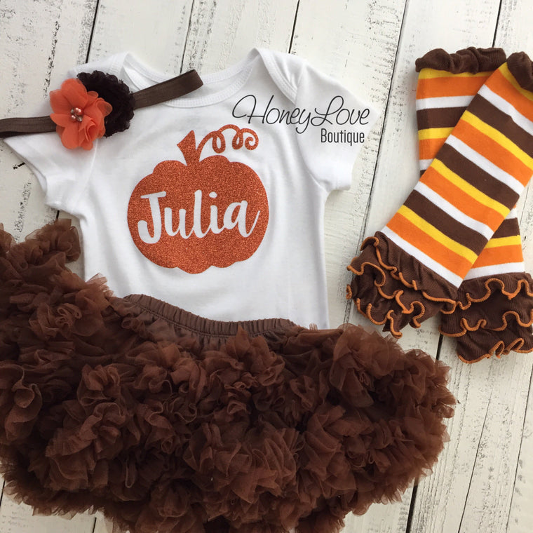 Thanksgiving Fall Halloween outfit - Brown/orange flower headband and leg warmers