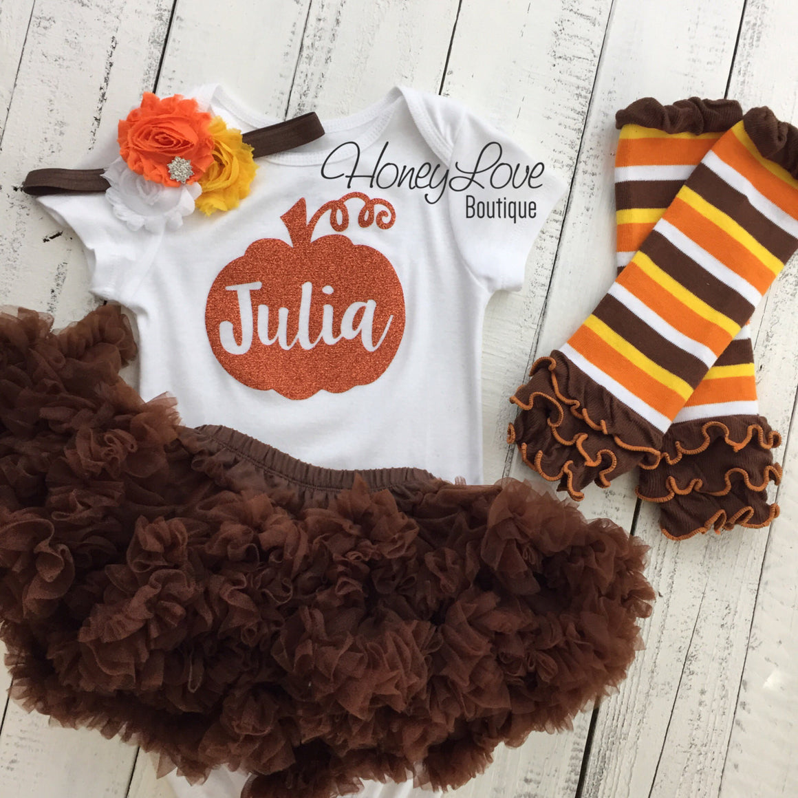 Thanksgiving Fall Halloween outfit - candy corn headband and leg warmers - HoneyLoveBoutique