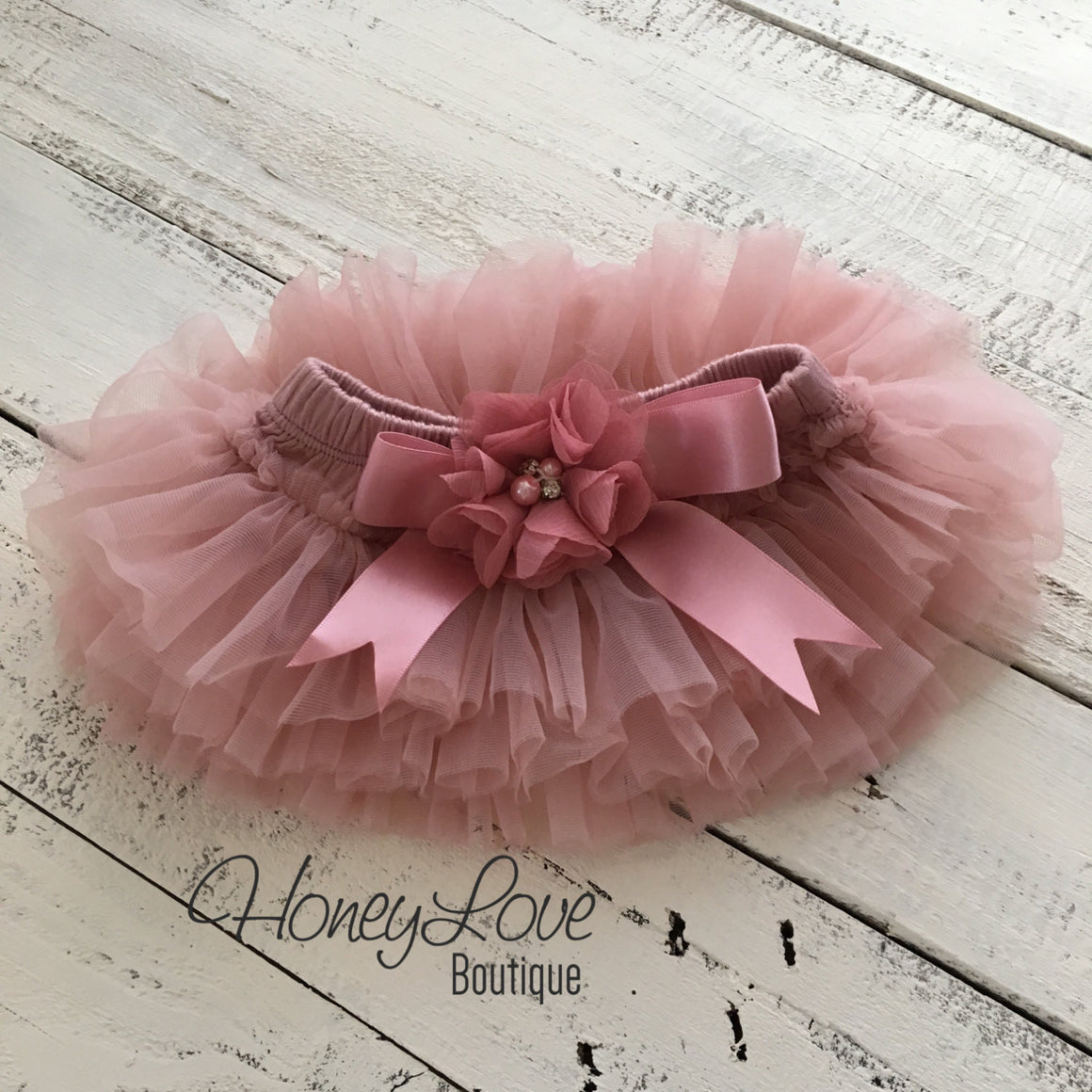 Vintage Pink tutu skirt bloomers and gold glitter headband - embellished bloomers