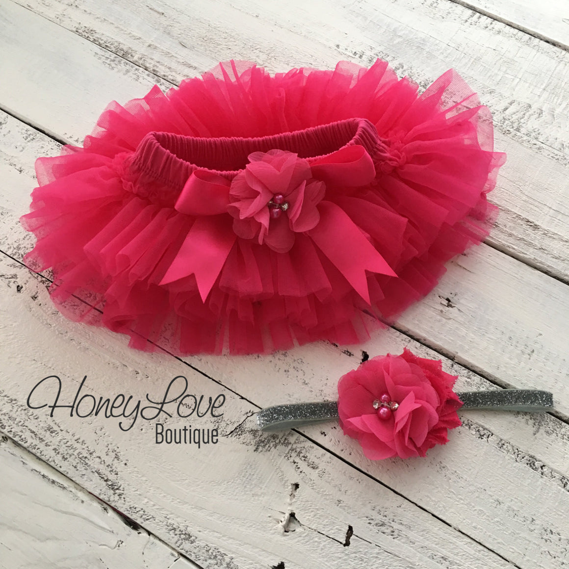 Watermelon Pink tutu skirt bloomers and silver glitter headband - embellished bloomer - HoneyLoveBoutique