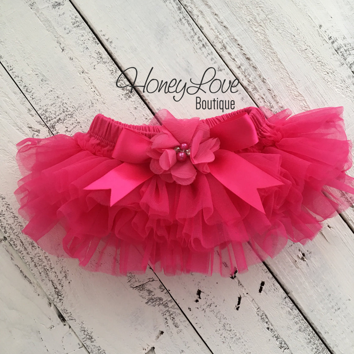 Watermelon Pink tutu skirt bloomers and silver glitter headband - embellished bloomer