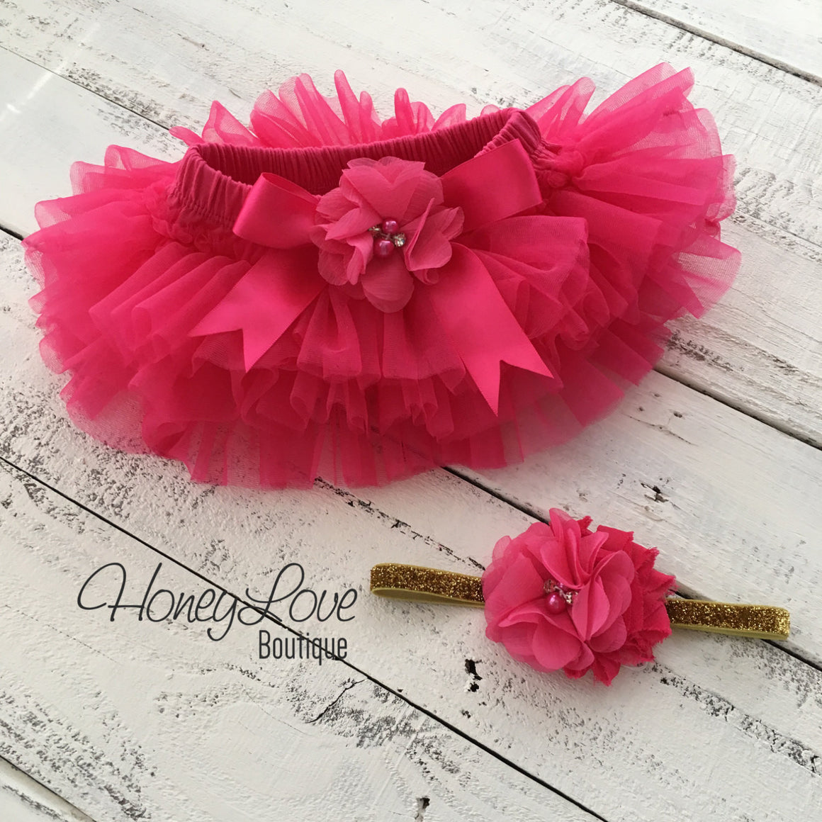 Watermelon Pink tutu skirt bloomers and gold glitter headband - embellished bloomer - HoneyLoveBoutique