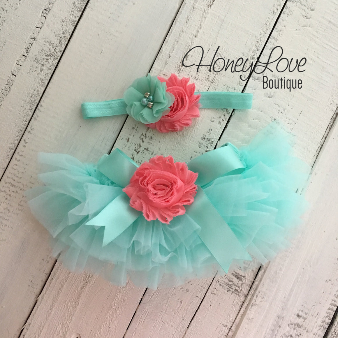 Mint/Aqua/Coral Embellished tutu skirt bloomers and headband - HoneyLoveBoutique