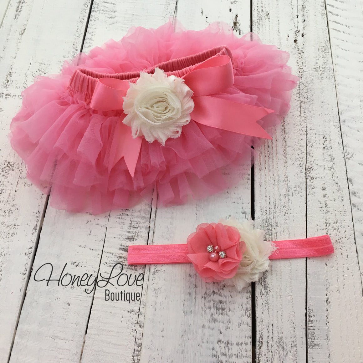 Coral Pink/Ivory Embellished tutu skirt bloomers and headband - HoneyLoveBoutique