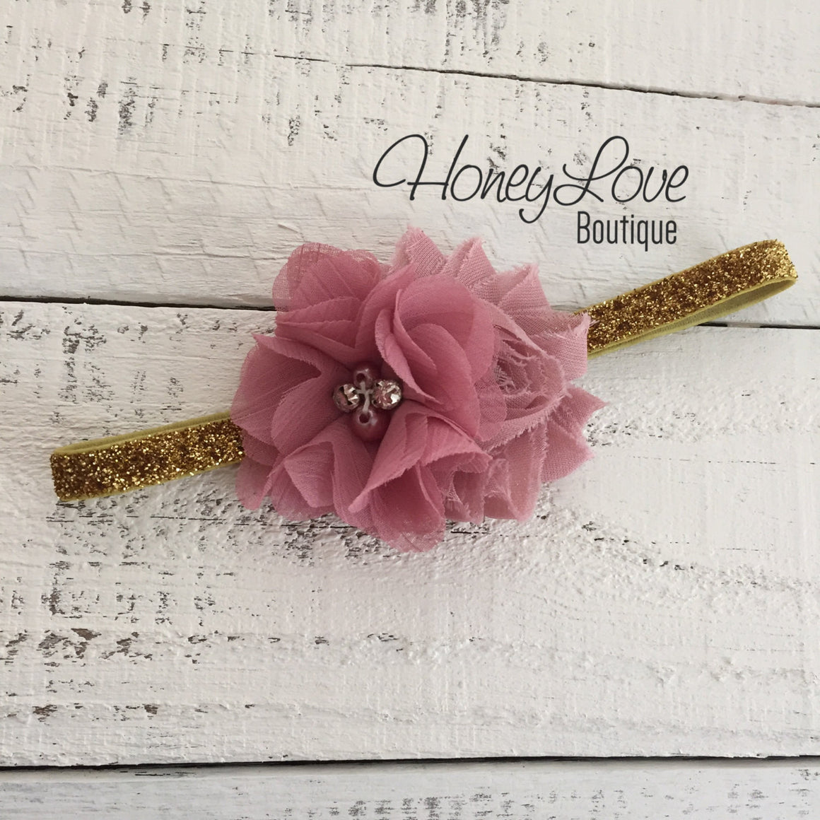 Vintage Pink shabby flower with rhinestones and pearls on Silver/Gold glitter headband