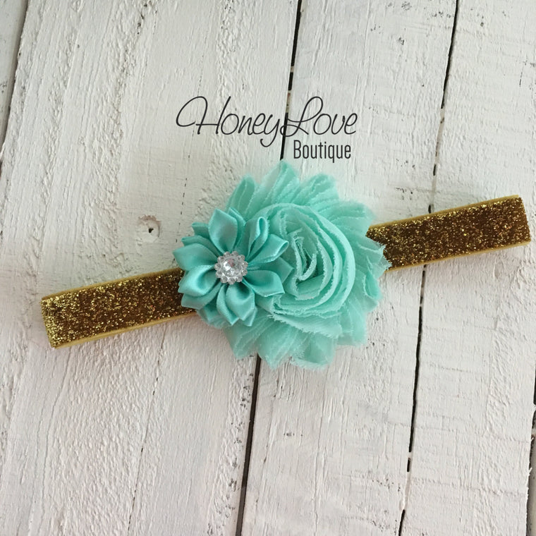 Mint/Aqua - Shabby Flower and Satin Flower Rhinestone - Gold Glitter Headband - HoneyLoveBoutique