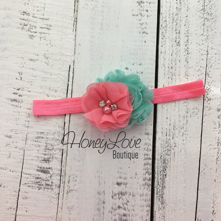 Coral Pink and Mint/Aqua shabby chiffon flower headband - HoneyLoveBoutique