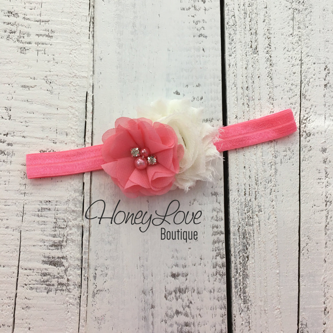 Coral Pink and Ivory shabby chiffon flower headband - HoneyLoveBoutique