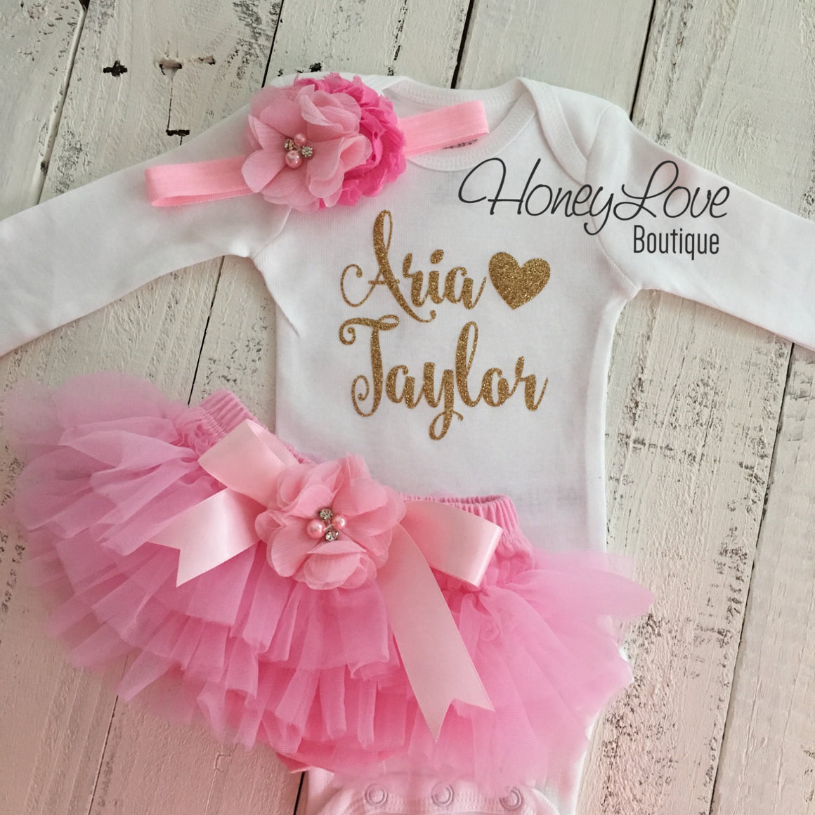 PERSONALIZED Name Outfit - Gold Glitter and Light Pink - Embellished bloomers - HoneyLoveBoutique