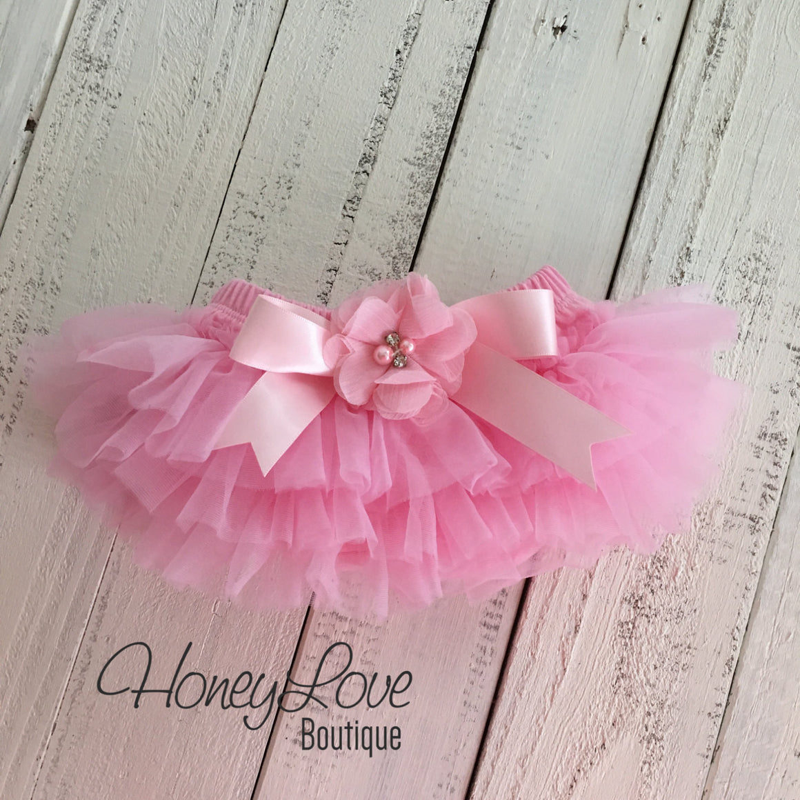 Light Pink tutu skirt bloomers  - embellished bloomer - HoneyLoveBoutique