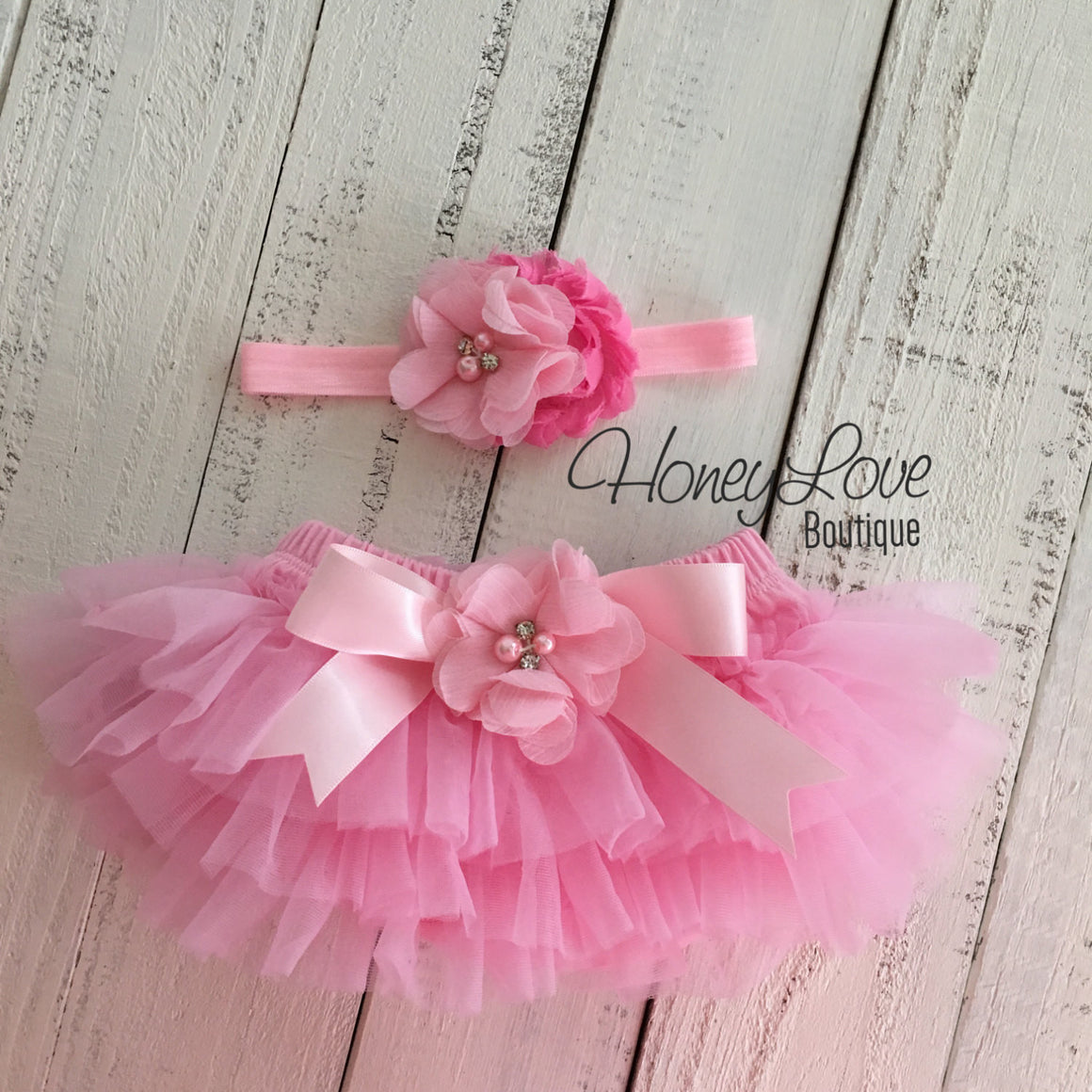 Light Pink tutu skirt bloomers and Light Pink/Bubblegum Pink flower headband - Embellished bloomers - HoneyLoveBoutique