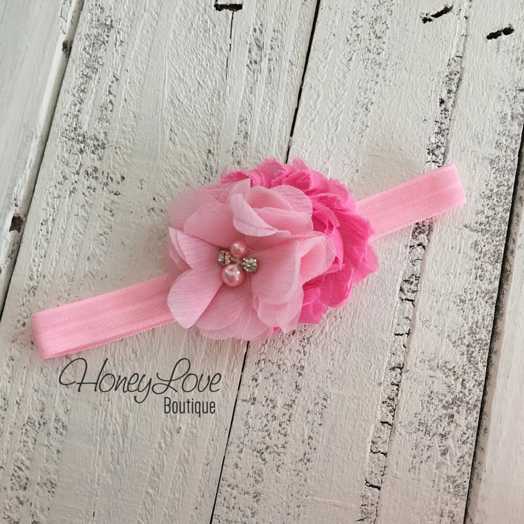 Light Pink/Bubblegum Pink flower headband