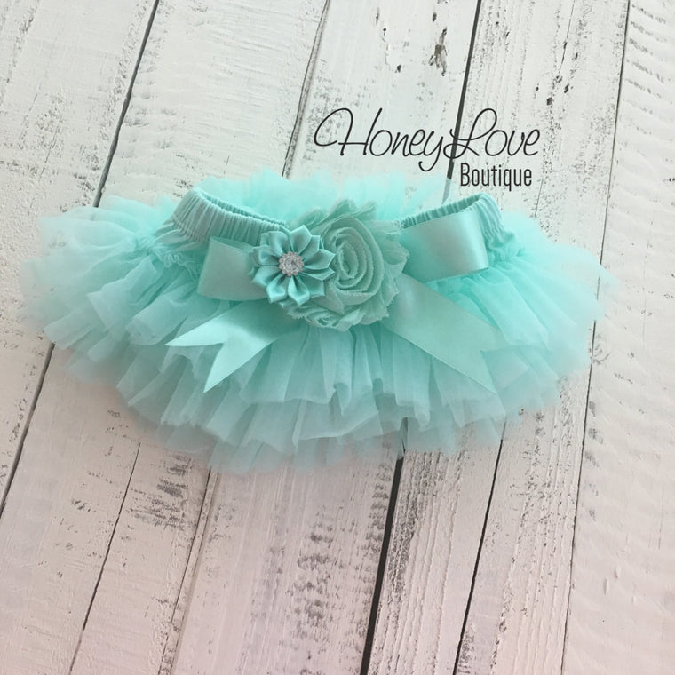 Mint/Aqua Embellished tutu skirt bloomers - HoneyLoveBoutique