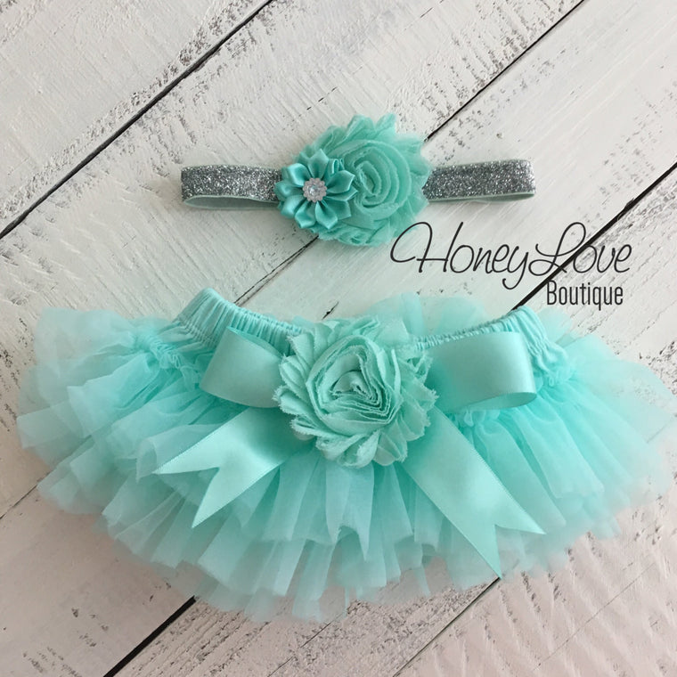 Mint/Aqua Embellished tutu skirt bloomers and silver glitter headband - HoneyLoveBoutique