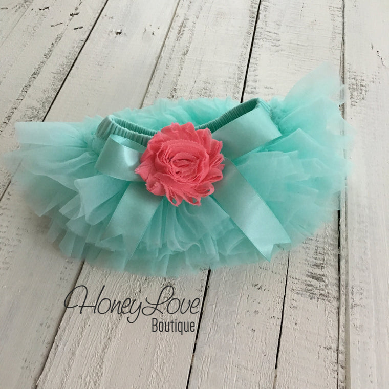 Mint/Aqua/Coral Embellished  tutu skirt bloomers - HoneyLoveBoutique