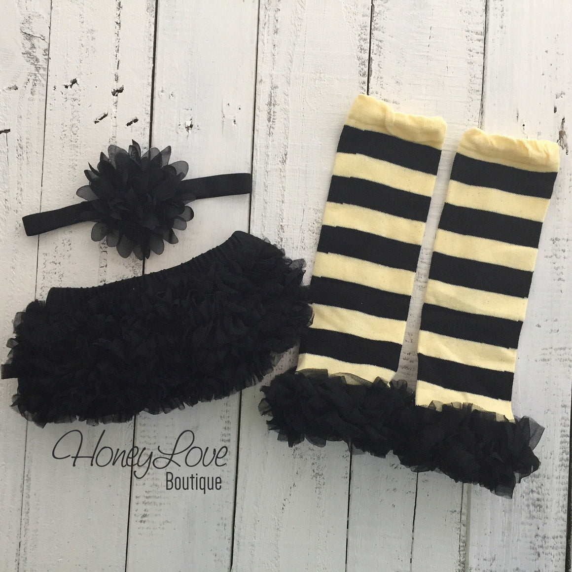 Yellow and Black Bumble Bee leg warmers, black ruffle bottom bloomer, matching flower headband