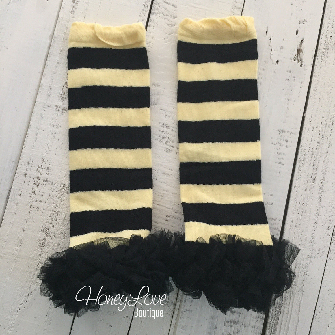 Leg Warmers - Yellow/Black Stripe Bumblebee - HoneyLoveBoutique