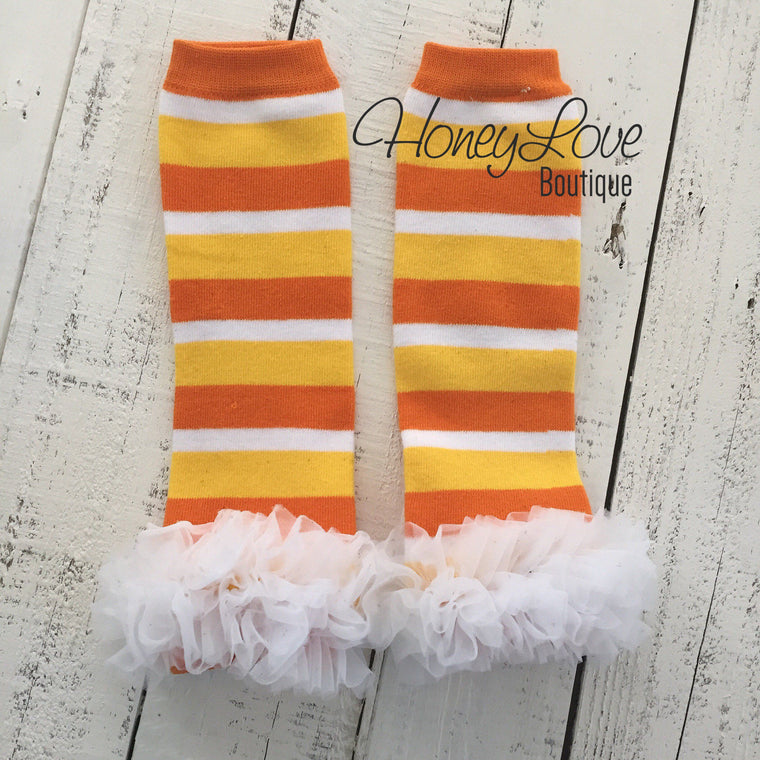 Halloween Leg Warmers - Candy Corn, Yellow/Orange/White