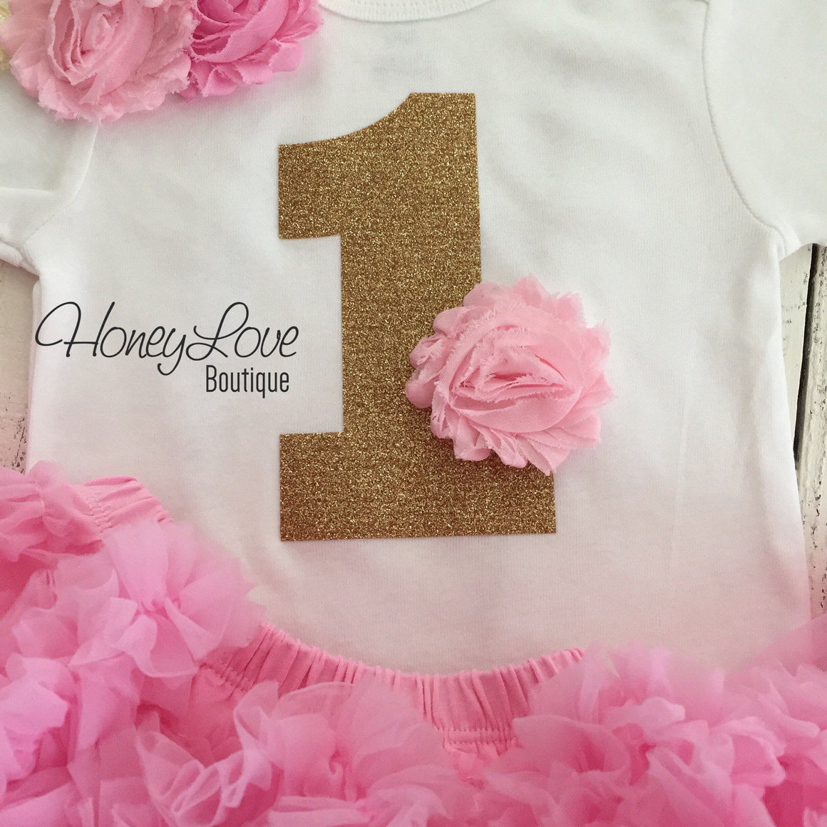 1st Birthday Outfit - Light Pink and Gold glitter