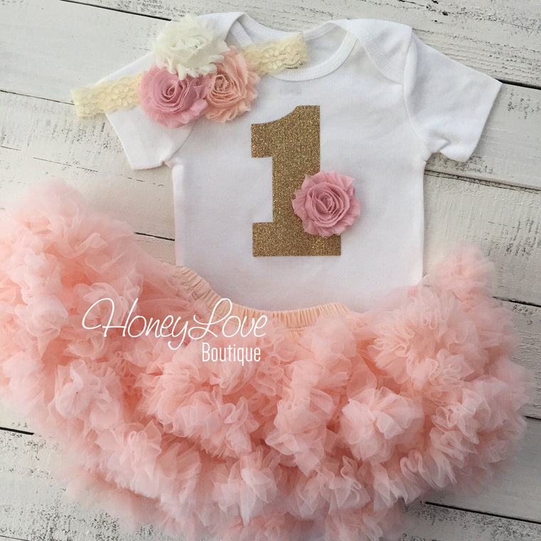 1st Birthday Outfit, peach and  blush pink gold glitter 1 number shirt, pettiskirt tutu skirt, lace shabby flower headband, First Cake Smash - HoneyLoveBoutique