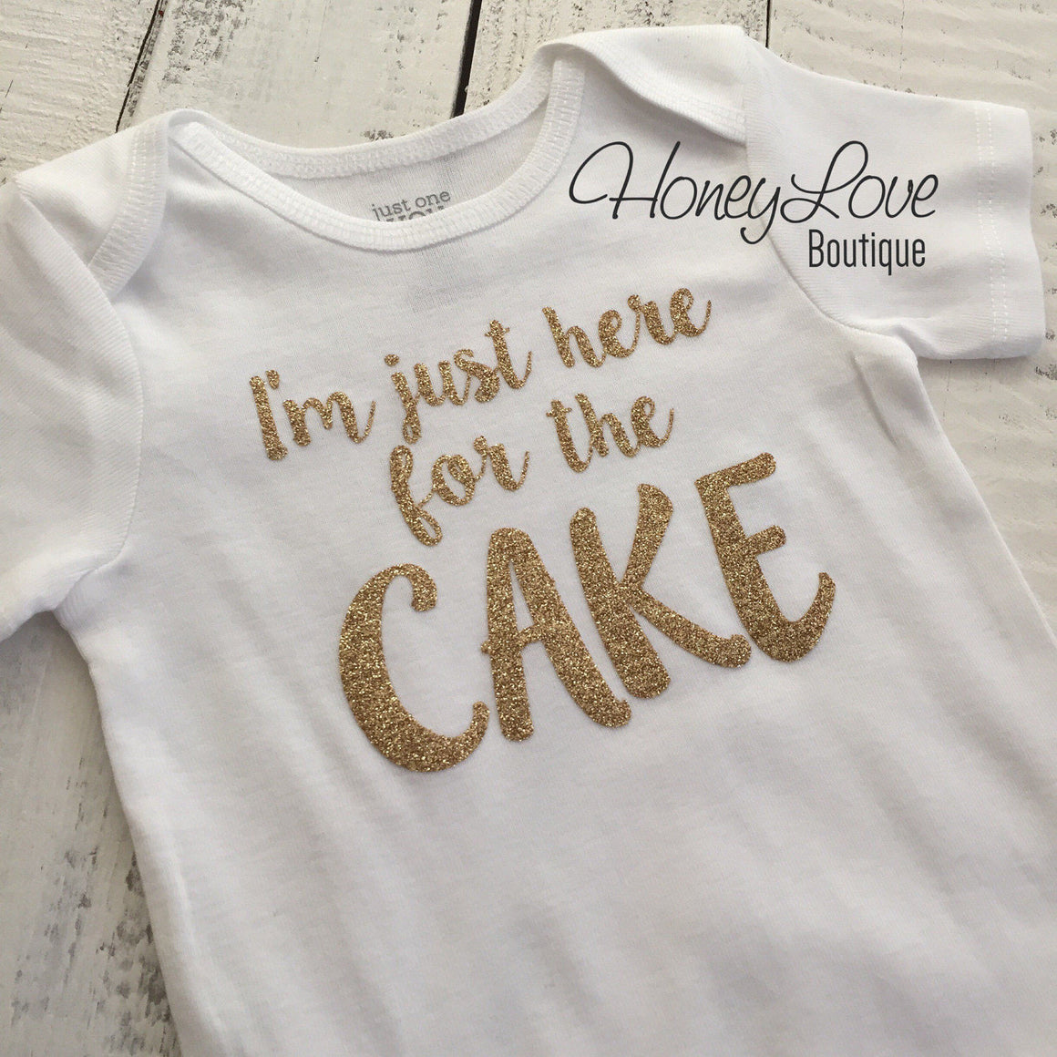 I'm just here for the CAKE! - Silver or Gold glitter bodysuit