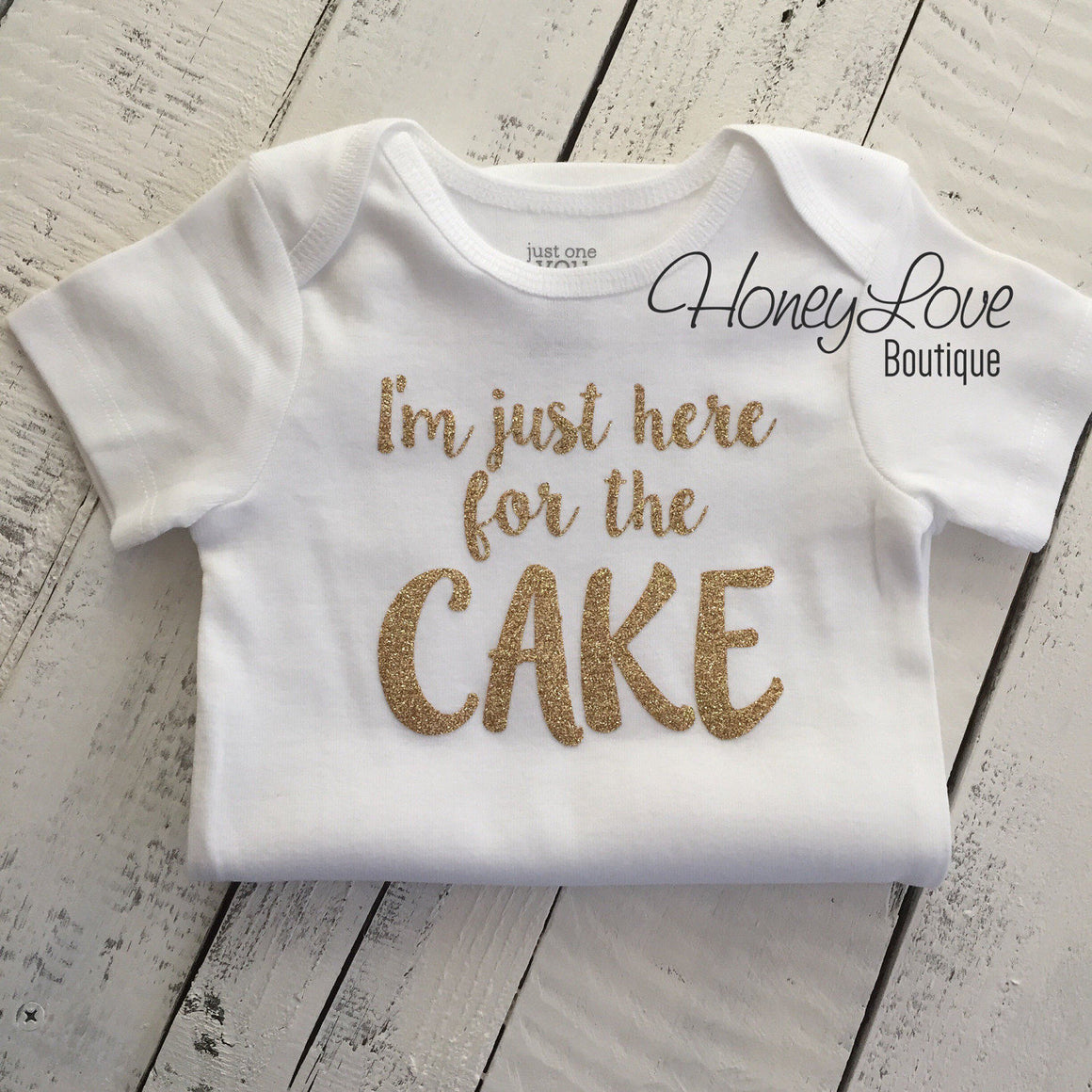 I'm just here for the CAKE! Silver or Gold glitter shirt bodysuit, First Birthday, 1st Cake Smash baby girl infant toddler wedding party - HoneyLoveBoutique
